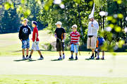 children, fairway, golf, golf course, golf player, grass, green, green, lawn, mjölkeröd, sport, summer, various, youngsters