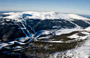 aerial photo, aerial pictures, bydal lake, Bydalen, drone aerial, environment, environmental damage, environmental influence, Höglekardalen, Jamtland, journeys down, landscapes, mountain, mountain environment, Oviksfjallen, pollution, ski slopes, skiing, slalom slopes, Western mountain, winter