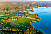 aerial photo, aerial photo, aerial photos, autumn, drone aerial, farms, Haxäng, Jamtland, Lockne lake, villages