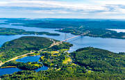 aerial photo, aerial pictures, Angermanland, bridge, bridges, communications, drone aerial, engineering projects, High Coast Bridge, land, landscapes, summer
