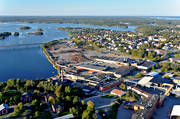 aerial photo, aerial pictures, drone aerial, Holmsund, installations, samhällen, sawmill, SCA Timber, summer, Ume river, West Bothnia