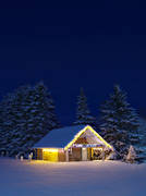 cabins, christmas ambience, Jamtland, julpyntad, landscapes, night sky, timber cabin, winter, winter\'s night
