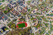 aerial photo, aerial photos, drone aerial, Köping, sports field, spring, städer, Västmanland