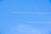 aeroplane, aviation, blue, commercial, communications, condensation streak, emission, environment, fly, sky