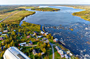aerial photo, aerial pictures, autumn, drone aerial, farms, Kukkola, Kukkolaforsen, landscapes, Nationalälvdagen, North Bothnia, sikhåvning, Torne älv, älvsik