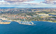 aerial photos, aerial picture, aerial pictures, boat harbour, fishing port, flygbilder, Kalkbrottet, Limhamn, Malmö, Sibbarp, Skåne, small-boat harbour, städer, summer