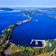 aerial photos, aerial picture, aerial pictures, autumn, boat harbour, community, flygbilder, landscapes, Lapland, Luspviken, port, samhällen, small-boat harbour, Storuman, Ume river, watercourse