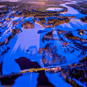 aerial photo, aerial pictures, attractions, bridge, bridges, drone aerial, engineering projects, Herjedalen, Inlandsbanen, järnvägsbron, landscapes, Ljusnan, Mankell Bridge, railway, railway bridge, samhällen, Sveg, winter