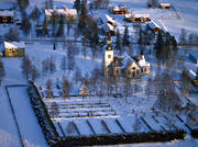 aerial photos, aerial picture, aerial pictures, church, church, churches, community, flygbilder, Jamtland, Marieby, samhällen, snow, winter