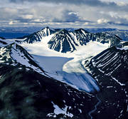 aerial photo, aerial pictures, drone aerial, fjällbilder, glacier, landscapes, Lapland, Mihkajiegna, Mikka glacier, mountain, national parks, Sarek, summer, swedish mountains