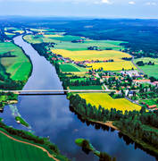 aerial photo, aerial photos, bridge, bridges, church, church, churches, Dalarna, Dalälven, drone aerial, landscapes, Nås, odlingslandskap, river, summer, Sweden, Vansbro, Västerdalälven, watercourse