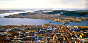 aerial photo, aerial pictures, autumn, centre, city, drone aerial, froso bridge, Froson, Jamtland, Ostersund, panorama, städer