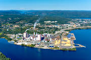 aerial photos, aerial picture, aerial pictures, flygbilder, landscapes, Medelpad, Ostrand, pulp factory, samhällen, SCA, summer, Timrå, woodpulp, paper pulp, paper wood