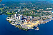 aerial photos, aerial picture, aerial pictures, flygbilder, landscapes, Medelpad, Ostrand, pulp factory, samhällen, summer, Timrå, woodpulp, paper pulp, paper wood