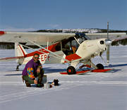 aviation, coffee break, communications, Cub, fly, Piper, ski flight, super, touched down, winter, winter flying