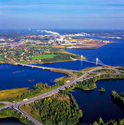 aerial photo, aerial photo, aerial photos, aerial photos, Bergvikssundet, bridge, bridges, drone aerial, drönarfoto, E4'an, industry, North Bothnia, papperbruk, Pitea, samhällen, Smurfit Kappa Kraftliner, städer, Öholmabron, Öholmaleden