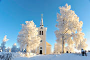ambience, ambience pictures, atmosphere, birches, buildings, christmas ambience, church, churches, cold, cold, frosty, Jamtland, Revsund, Revsunds, season, seasons, snow, winter