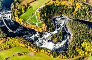 aerial photos, aerial picture, aerial pictures, are river, autumn, fishing spots, flygbilder, Jamtland, Ristafallet, Rista Fall, swedish mountains, watercourse