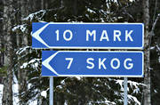buildings, engineering projects, ground, Lapland, mark, road signs, signs, woodland