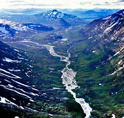 aerial photo, aerial pictures, drone aerial, fjällbilder, fjällbäckar, Kisurs, landscapes, Lapland, mountain valley, national parks, Routesvagge, Sarek, season, seasons, Smailajåkkå, summer, swedish mountains