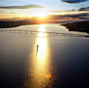 aerial photo, aerial photo, aerial photos, aerial photos, ambience, ambience pictures, atmosphere, bridge, bridges, canvastavla, drone aerial, drönarbild, drönarfoto, evening, fototavla, Great Lake, Jamtland, landscapes, Ostersund, sail, sailing-boat, solblänk, städer, summer, sunset, tavla, Vallsund Bridge, Vallsundet