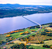 aerial photo, aerial photo, aerial photos, aerial photos, autumn, bridge, canvastavla, drone aerial, drönarfoto, Fagerdal, fototavla, Great Lake, Jamtland, landscapes, mountains, road, Sanne, Sannsundsbron, tavla