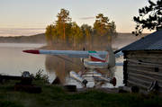 aviation, communications, fly, fog, Herjedalen, lake, landscapes, morning, ojings lake, Piper Cub, SE-EPF, seaplane, seaplane, summer, sunrise, super cub, touch down, touched down