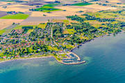 Abbekås, aerial photo, aerial pictures, drone aerial, fishing port, landscapes, samhällen, Skåne, Skånes sydkust, small-boat harbour, summer