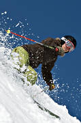down-hill running, offpist, skier, skies, skiing, snow-spray, sport, winter