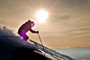 down-hill running, fresh snow, loose snow, offpist, playtime, skier, sport, sunset, winter, äventyr