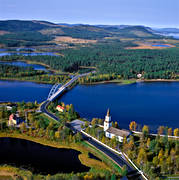 aerial photo, aerial pictures, autumn, bridge, church, drone aerial, landscapes, Lapland, samhällen, Sorsele, Vindel river