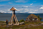bell tower, buildings, cabins, chapel, Lapland, mountain, mountains, national park, Padjelanta, sami church teepee, sami culture, Staloluokta, teepee, teepee