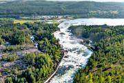 aerial photo, aerial pictures, attractions, drone aerial, fall, hotell, installations, landscapes, North Bothnia, Pite river, rapids, Storforsen, stream, turistattraktion, Varjisån, water fall