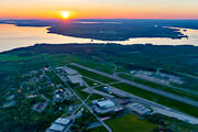 aerial photo, airfield, airport, aviation, commercial, communications, drone aerial, evening, Froson, installations, Jamtland, summer, sunset, Åre-Östersund