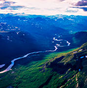aerial photo, aerial pictures, drone aerial, landscapes, Lapland, mountain, mountain pictures, Padjelanta, Rivkonjunnje, summer, Tarradalen, Tarraätno, watercourse