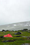 alpine hiking, fog, national park, Padjelanta, rain, summer, tent, äventyr