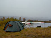 Ammarnas, aviation, camping, communications, fly, fog, grey day, seaplane, seaplane, Super Cub, tent, tenting, Vindel river