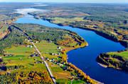 aerial photo, aerial pictures, autumn, drone aerial, farms, gränsälv, Kardis, landscapes, North Bothnia, Pajala, rivers, Torne älv, Torneälven, älvkrok
