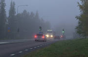 cars, communications, fog, land communication, road, traffic, vehicular traffic