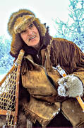 alpine resident, mountain resident, catcher, happiness, happy, hunting, joy, rackets, snowshoes, snow shoes, trapper, trapping, winter