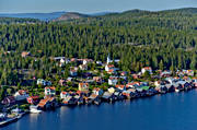aerial photos, aerial picture, aerial pictures, Angermanland, flygbilder, landscapes, northern, samhällen, summer, Ulvö church, Ulvöarna, Ulvön