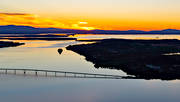 aerial photo, aerial photo, aerial photos, aerial photos, ballong, drone aerial, drönarfoto, evening, evening light, Froson, Jamtland, landscapes, Stosjön, summer, sunset, Vallsund Bridge, Vallsundet