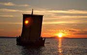 boats, communications, evening, Great Lake, ship, shipping, summer, summer evening, viking ship, vikings, water