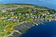 aerial photos, aerial picture, aerial pictures, bridges, flygbilder, Juniskär, landscapes, Medelpad, samhällen, seashore, small boat harbour, summer, villas