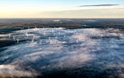 aerial photo, aerial photo, aerial photos, aerial photos, Albacken, drone aerial, drönarbild, drönarfoto, energy, environment, fog, Jamtland, landscapes, nature, vindsnurror, wind power plants, woodland, work