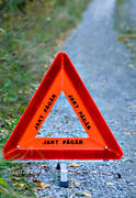 equipment, hunting, hunting road sign, jaktutrustning, reflex, sign, triangle, underway, warning triangle