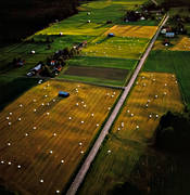 aerial photo, aerial photo, aerial photos, aerial photos, agriculture, arable land, crop land, cultivated land, drone aerial, drönarfoto, farmin, hay bale, highway, Jamtland, landscapes, Lockne lake, round bale, summer